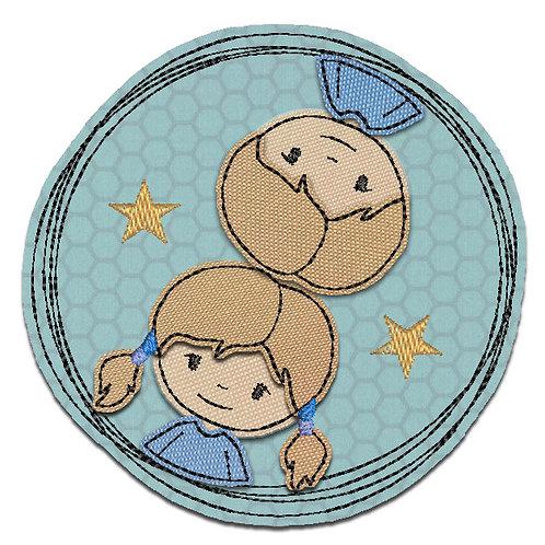 Doodle-Button Zwillinge 7x7cm