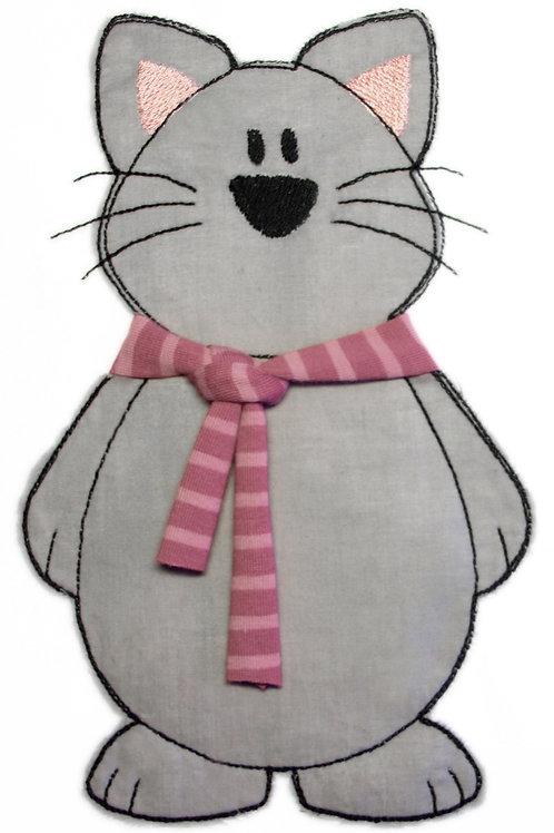 Katze mit Schal - Doodle-Stickdatei 12x18cm
