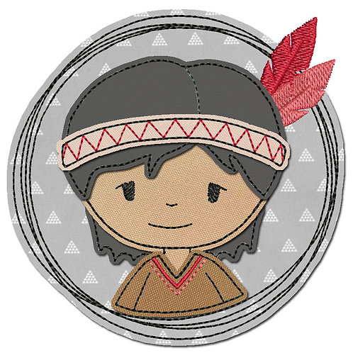 Doodle-Button Indianer 7x7cm