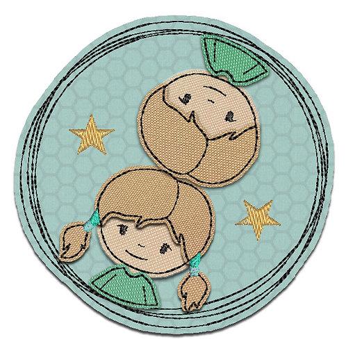 Doodle-Button Zwillinge 13x13cm