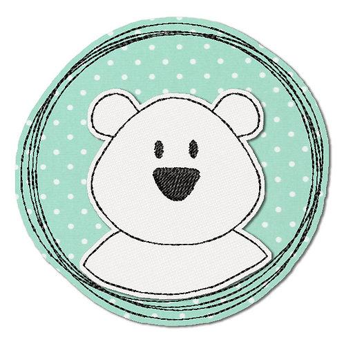 Doodle-Button Eisbär 18x18cm