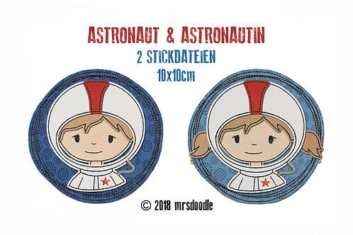 Set Astronauten- 2 Doodle-Stickdateien 10x10cm
