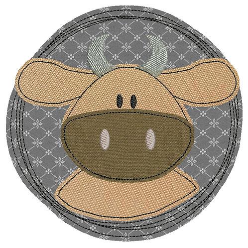 Doodle-Button Kuh 13x13cm