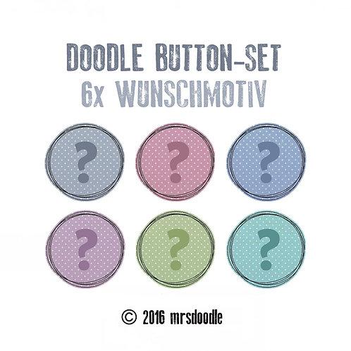 6x Wunsch-Button - Doodle-Button-Set