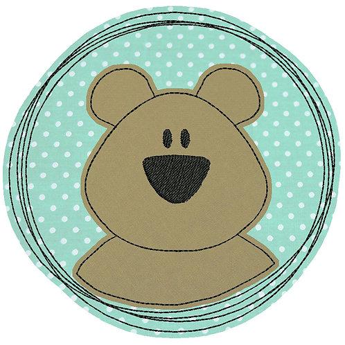 Doodle-Button Bär 13x13cm