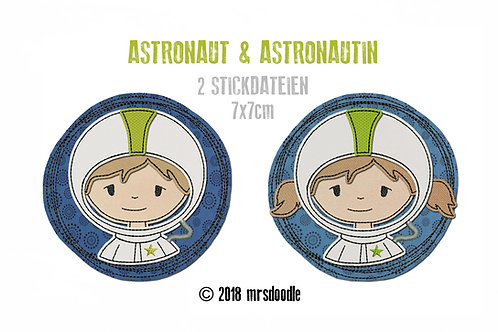 Set Astronauten- 2 Doodle-Stickdateien 7x7cm