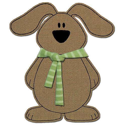 Hund mit Schal - Doodle-Stickdatei 10x10cm