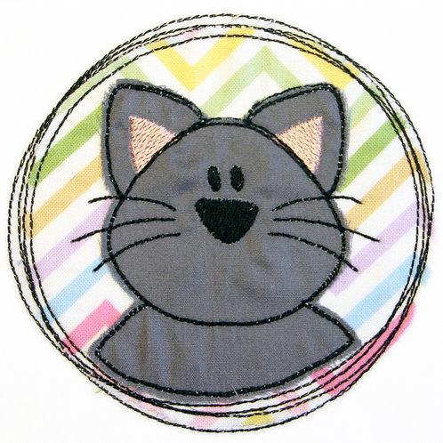 Doodle-Button Katze 10x10cm