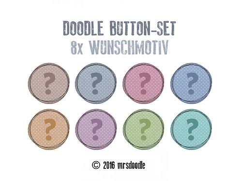 8x Wunsch-Button - Doodle-Button-Set