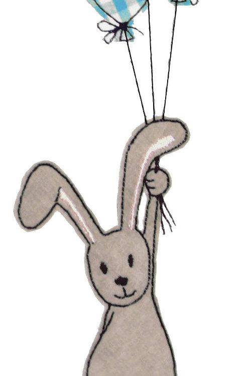 Hase mit Luftballons - Doodle-Stickdatei 13x18cm