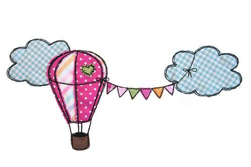 Heißluftballon mit Wolken - Doodle-Stickdatei 16x26cm