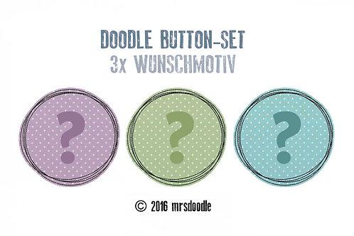 3x Wunsch-Button - Doodle-Button-Set