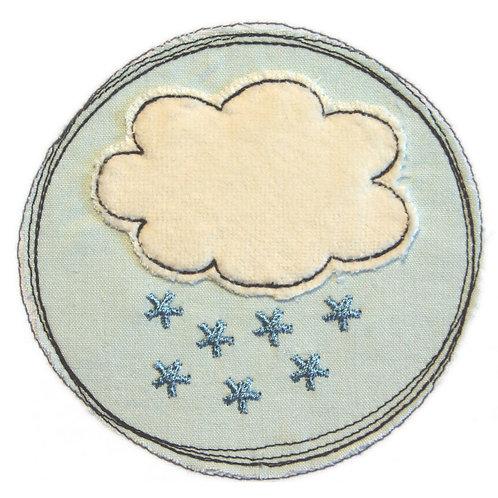 Doodle-Button Schneewolke10x10cm
