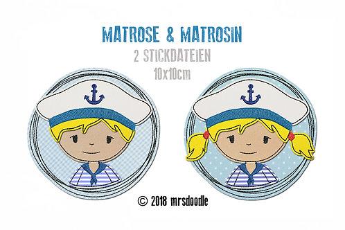 Set Matrosen - 2 Doodle-Stickdateien 10x10cm