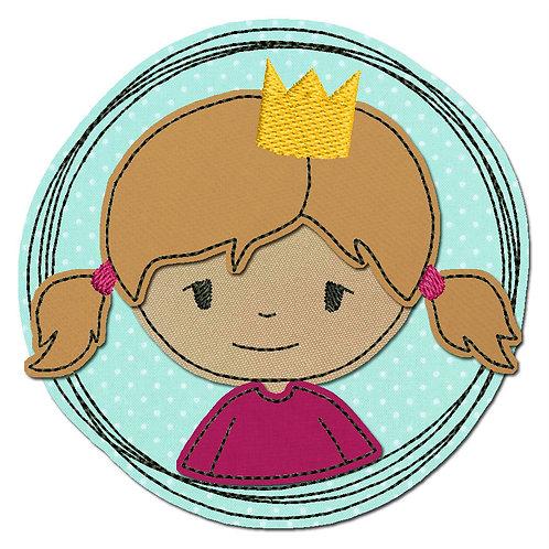 Doodle-Button Prinzessin 13x13cm
