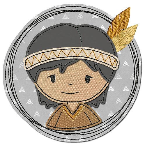 Doodle-Button Indianer 13x13cm