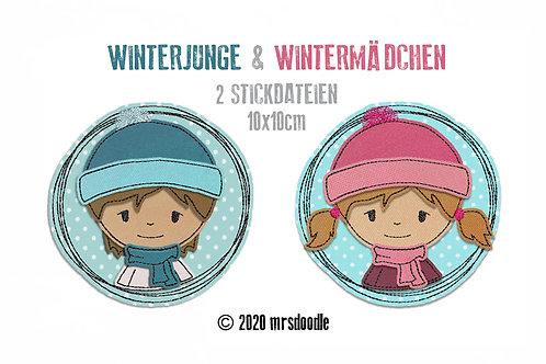 Set Winterkinder- 2 Doodle-Stickdateien 10x10cm