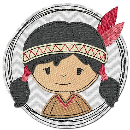 Doodle-Button Indianerin 13x13cm