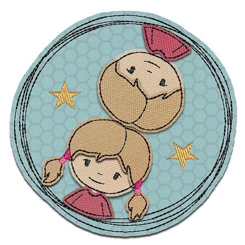 Doodle-Button Zwillinge 10x10cm