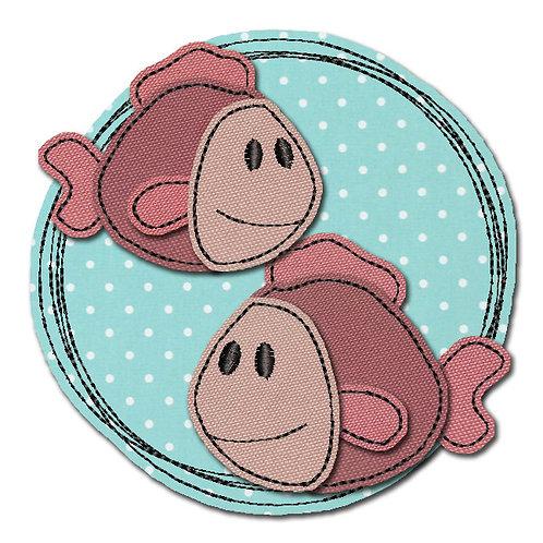 Doodle-Button Fische 13x13cm