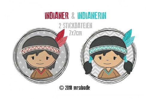 Set Indianer - 2 Doodle-Stickdateien 7x7cm