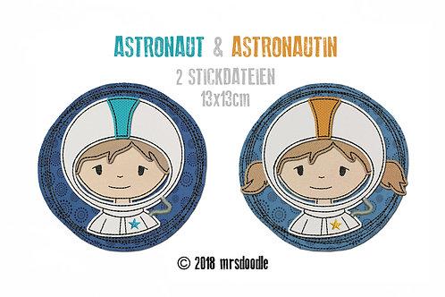 Set Astronauten- 2 Doodle-Stickdateien 13x13cm