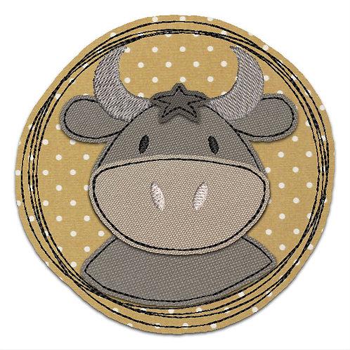 Doodle-Button Stier 7x7cm