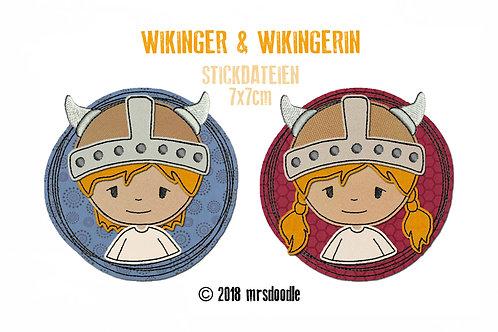 Set Wikinger - 2 Doodle-Stickdateien 7x7cm