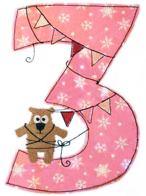 Geburtstags-Doodle 3 Jahre - Stickdatei 13x18cm