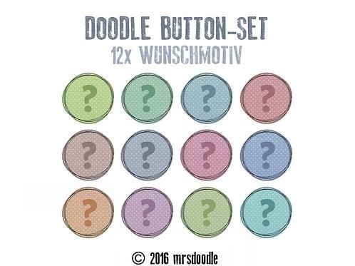 12x Wunsch-Button - Doodle-Button-Set