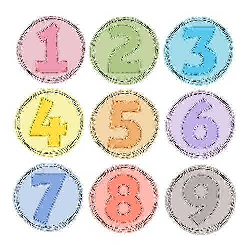Doodle-Button-Set Zahlen 7x7cm