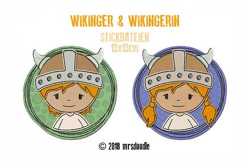 Set Wikinger - 2 Doodle-Stickdateien 13x13cm