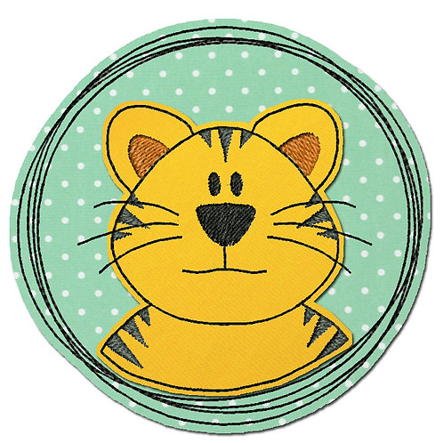 Doodle-Button Tiger 13x13cm