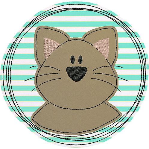 Doodle-Button Katze 13x13cm