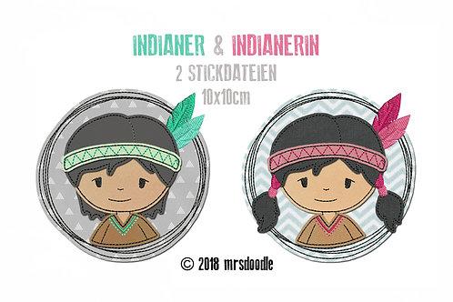 Set Indianer - 2 Doodle-Stickdateien 10x10cm