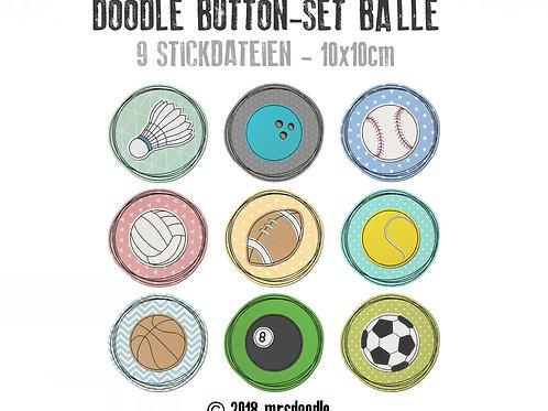 Sport Bälle-Set - 9x Doodle-Button 10x10cm