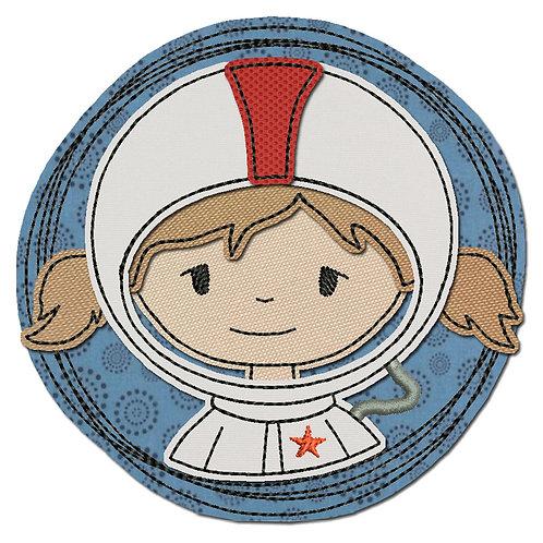 Doodle-Button Astronautin 10x10cm