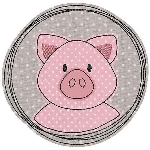 Doodle-Button Ferkel 13x13cm