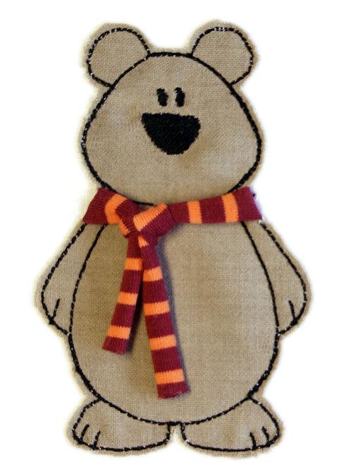 Bär mit Schal - Doodle-Stickdatei 10x10cm