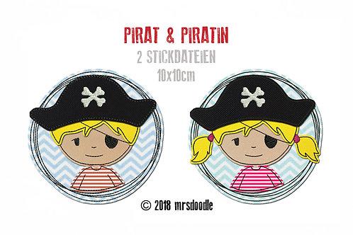 Set Piraten - 2 Doodle-Stickdateien 10x10cm