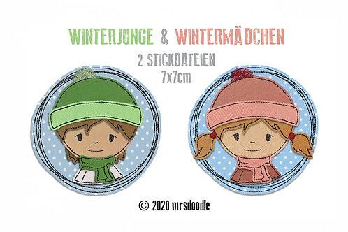 Set Winterkinder- 2 Doodle-Stickdateien 7x7cm