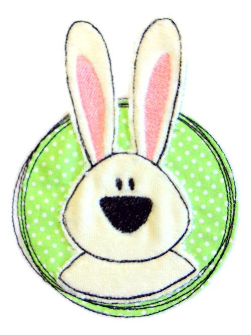 Doodle-Button Hase 10x13cm