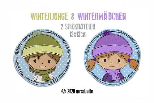 Set Winterkinder- 2 Doodle-Stickdateien 13x13cm