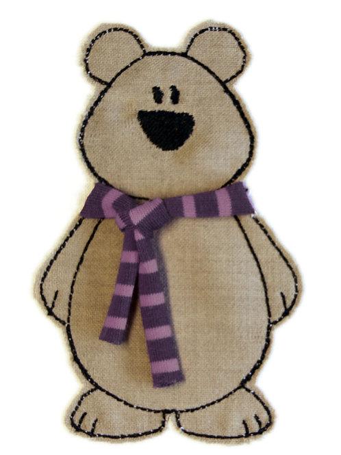 Bär mit Schal - Doodle-Stickdatei 13x18cm