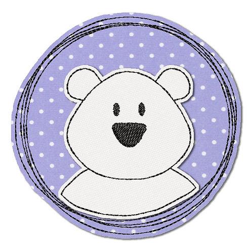 Doodle-Button Eisbär 13x13cm