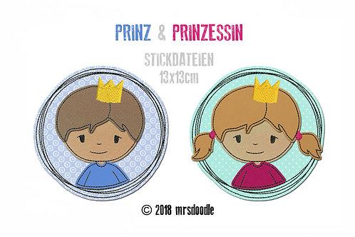 Set Prinz & Prinzessin - 2 Doodle-Stickdateien 13x13cm