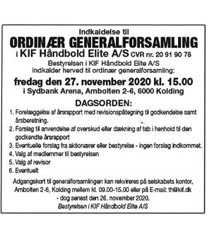 KIF Håndbold Elite A/S indkalder til ordinær generalforsamling.