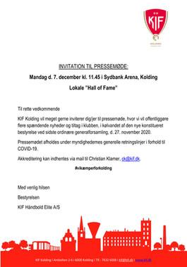 KIF Kolding inviterer til pressemøde