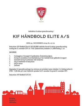 Indkaldelse til ordinær generalforsamling i KIF Håndbold Elite A/S