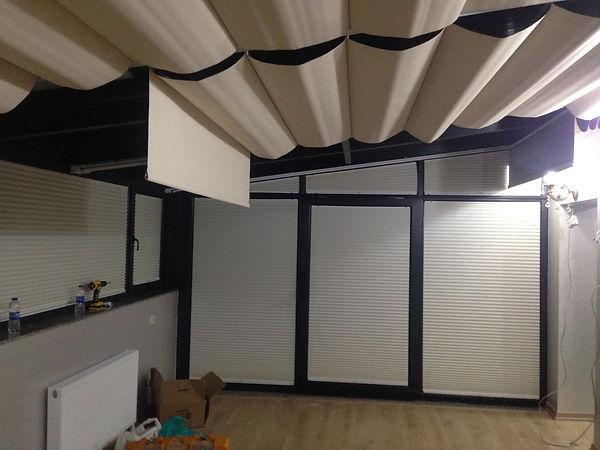 motorlu tavan perdesi imalat sonrası montaj anı